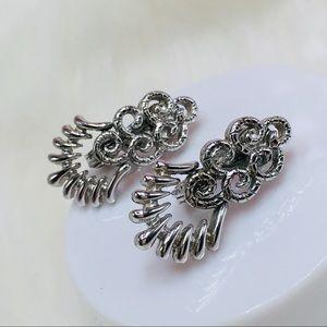 Monet clip on earrings silver white gold